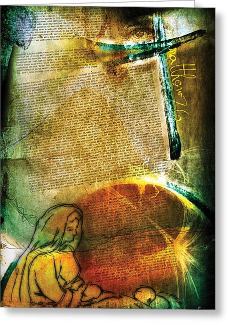 Pentecost Greeting Cards - Matthew 26 Greeting Card by Switchvues Design