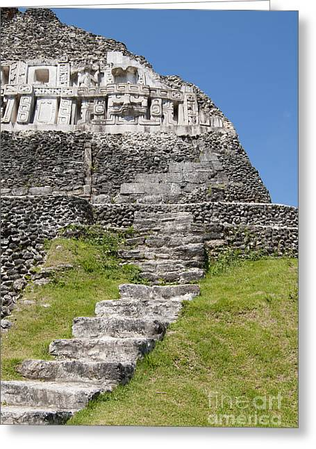 Historic Site Pyrography Greeting Cards - Mayan ruins at Xunantunich Greeting Card by Yoshiko Wootten