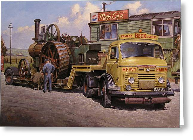 Engine Paintings Greeting Cards - Mays transport cafe. Greeting Card by Mike  Jeffries