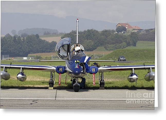 Military Airplanes Greeting Cards - Mb-339apan Of The Frecce Tricolori Greeting Card by Luca Nicolotti