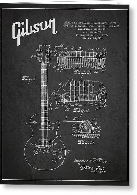 Technical Art Greeting Cards - Mccarty Gibson Les Paul guitar patent Drawing from 1955 -  Dark Greeting Card by Aged Pixel