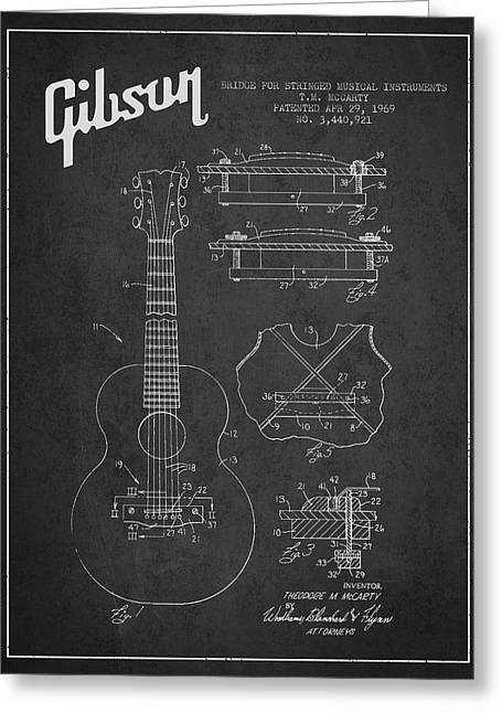 Technical Greeting Cards - Mccarty Gibson stringed instrument patent Drawing from 1969 - Dark Greeting Card by Aged Pixel