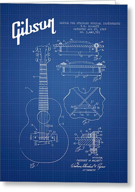 Gibson Greeting Cards - Mccarty Gibson stringed instrument patent Drawing from 1969 - Bl Greeting Card by Aged Pixel