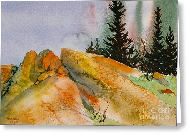 Sienna Greeting Cards - McHugh Creek Impression Greeting Card by Teresa Ascone
