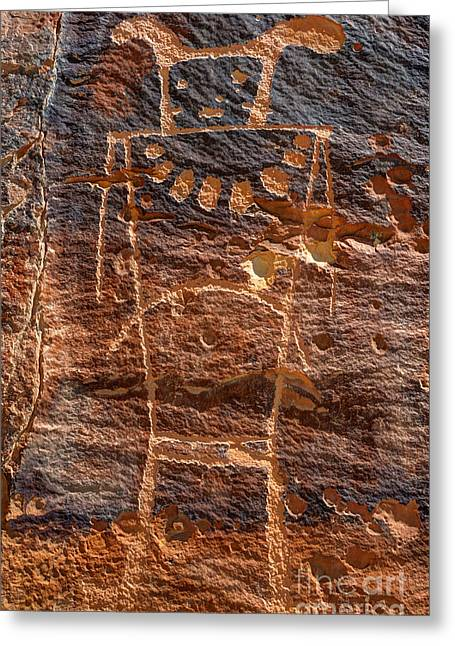 Petroglyph Greeting Cards - McKee Springs Petroglyph - Utah Greeting Card by Gary Whitton