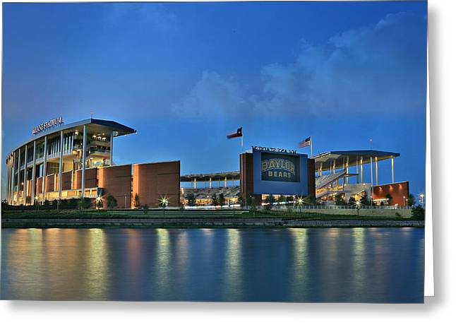 Runner Greeting Cards - McLane Stadium -- Baylor University Greeting Card by Stephen Stookey