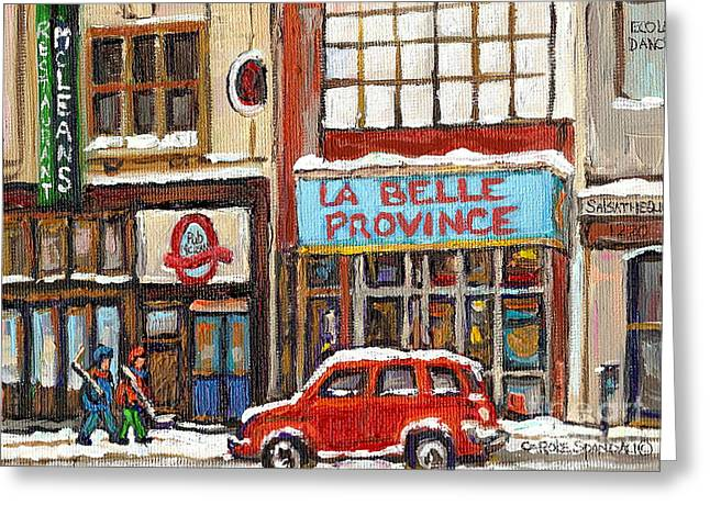 Mcleans Irish Pub Montreal Greeting Card by Carole Spandau