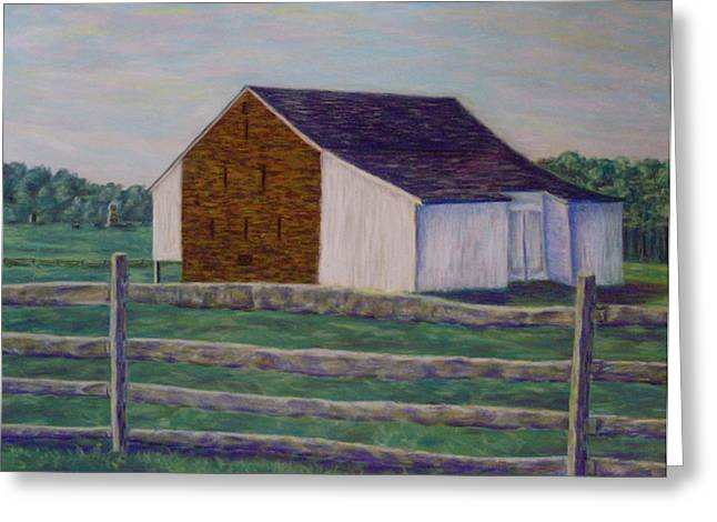 Civil Pastels Greeting Cards - McPhersons Barn Gettysburg Greeting Card by Joann Renner
