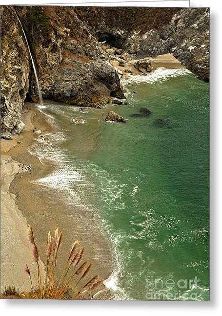 Big Sir California Greeting Cards - McWay Falls Greeting Card by Adam Jewell