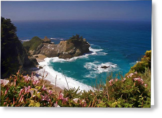 Pfeiffer Beach Greeting Cards - McWay Falls Greeting Card by Donna Kennedy