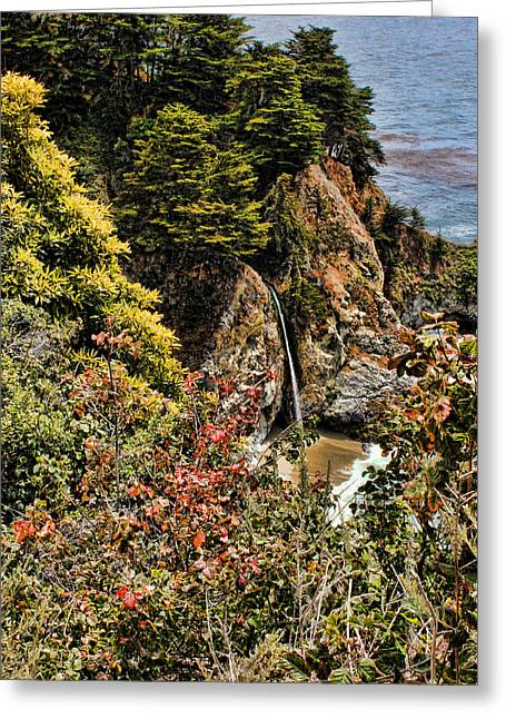 Big Sur Beach Greeting Cards - McWay Falls Greeting Card by Judy Vincent