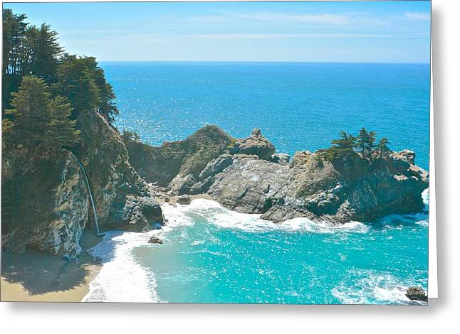 Coast Hwy Ca Greeting Cards - McWay Waterfall in Big Sur Greeting Card by Rachel Cash