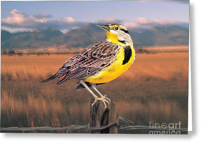 Barbed Wire Fences Pastels Greeting Cards - Meadowlark on the Fence 2 Greeting Card by Kathryn Yoder