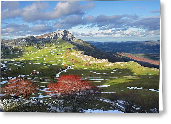 Rock Spring Trail Greeting Cards - meadows surrounding by mountains in Gorbea. Basque Country Greeting Card by Mikel Martinez de Osaba
