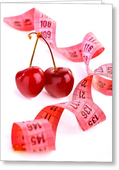 Fresh Food Greeting Cards - Measure tape with cherry Greeting Card by Anna Omelchenko