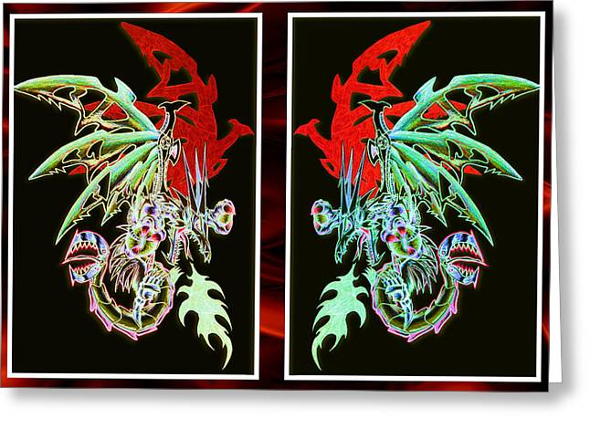Mechanical Pastels Greeting Cards - Mech Dragons Pastel Greeting Card by Shawn Dall