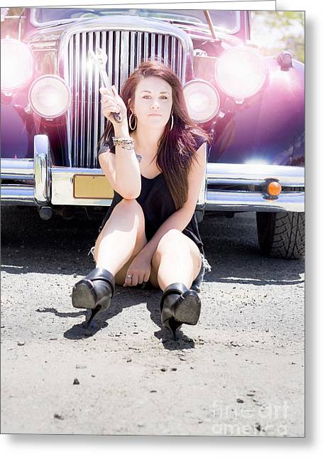 Youthful Photographs Greeting Cards - Mechanic Fixing Car Greeting Card by Ryan Jorgensen