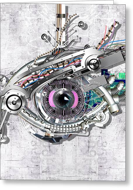 Technical Mixed Media Greeting Cards - Mechanical eye Greeting Card by Diuno Ashlee