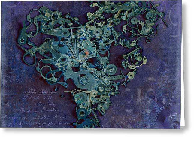 Component Digital Art Greeting Cards - Mechanical - Heart Greeting Card by Fran Riley