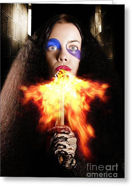 Jester Greeting Cards - Medieval jester breathing fire during carnival act Greeting Card by Ryan Jorgensen