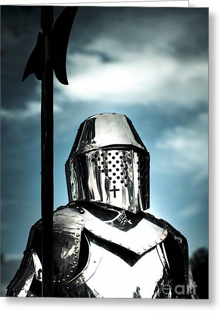 Medieval Knight Holding Weapon Greeting Card by Jorgo Photography - Wall Art Gallery