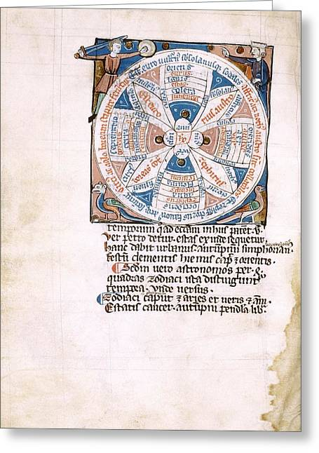Medieval Meteorological Manuscript Greeting Card by Renaissance And Medieval Manuscripts Collection/new York Public Library