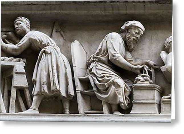 Bas-relief Greeting Cards - Medieval Stone Masons Greeting Card by Sheila Terry