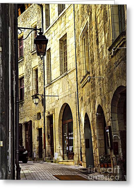 Dordogne Greeting Cards - Medieval street in France Greeting Card by Elena Elisseeva