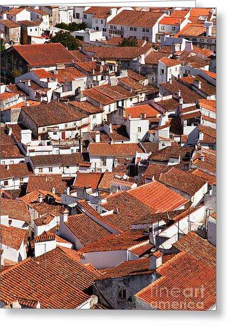 Birdseye Greeting Cards - Medieval town rooftops Greeting Card by Jose Elias - Sofia Pereira