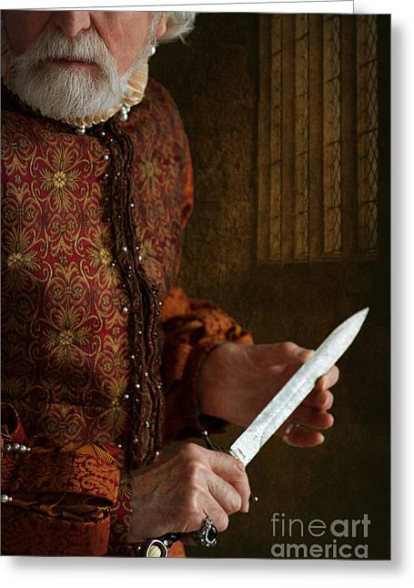 Gold Earrings Greeting Cards - Medieval Tudor Man With Dagger Greeting Card by Lee Avison