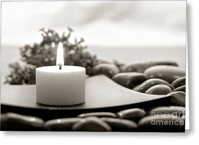 Votive Candles Greeting Cards - Meditation Candle Greeting Card by Olivier Le Queinec