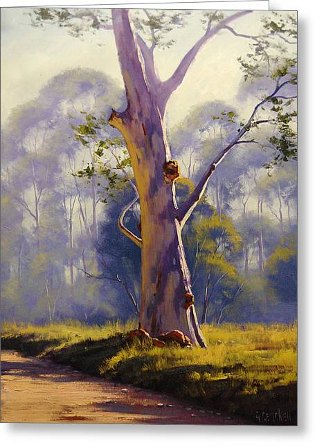 River Paintings Greeting Cards - Megalong Gum Greeting Card by Graham Gercken