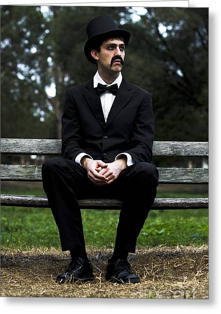 Pause Greeting Cards - Melancholy Man Greeting Card by Ryan Jorgensen