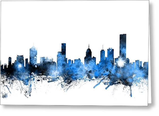 Melbourne Greeting Cards - Melbourne Australia Skyline Greeting Card by Michael Tompsett