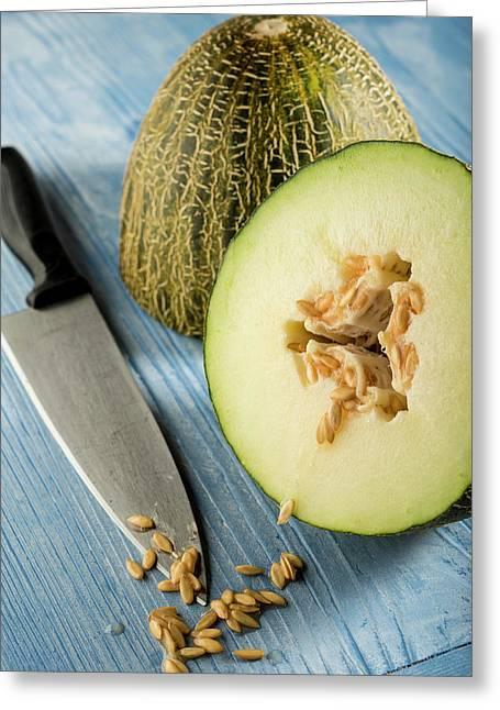 Melon Cut In Half Greeting Card by Aberration Films Ltd