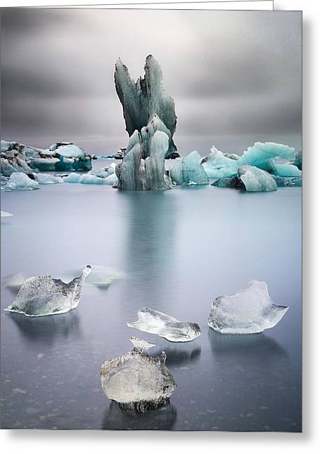 Greenhouse Effect Greeting Cards - Melting glacier ice Iceland Greeting Card by Dirk Ercken