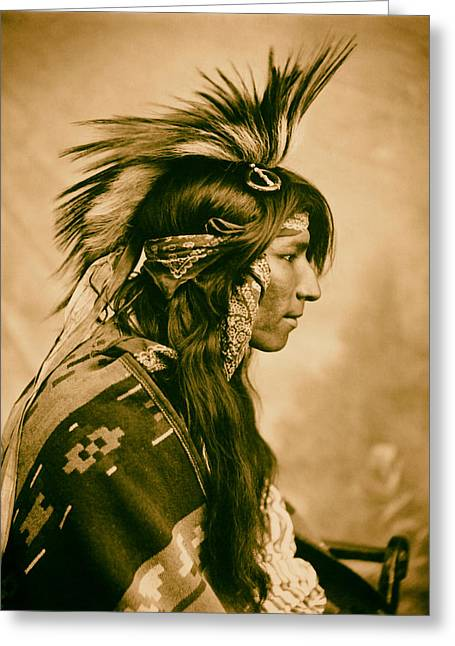 Cree Greeting Cards - Member of the Cree Tribe - Saskatchewan 1903 Greeting Card by Mountain Dreams