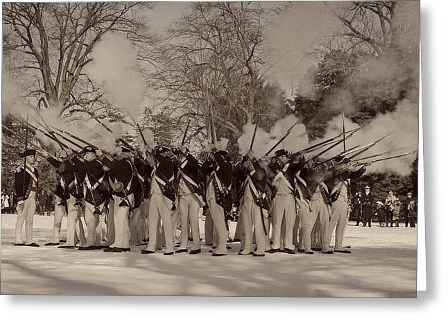Detachment Greeting Cards - Members of the Armys Old Guard Dressed as Revolutionary War Soldiers Greeting Card by Skeeze