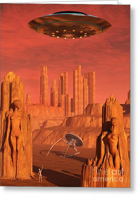 Lost Civilization Greeting Cards - Members Of The Planets Advanced Greeting Card by Mark Stevenson