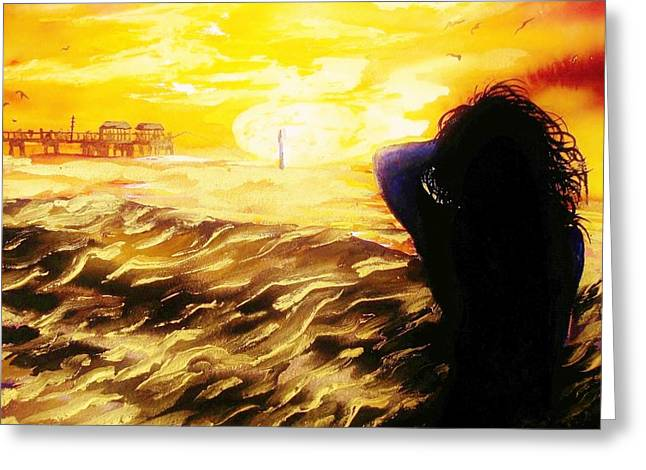Surf Silhouette Paintings Greeting Cards - Memories of Clearwater Greeting Card by Lil Taylor