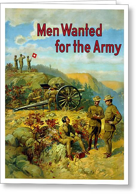 War Propaganda Greeting Cards - Men Wanted For The Army Greeting Card by War Is Hell Store