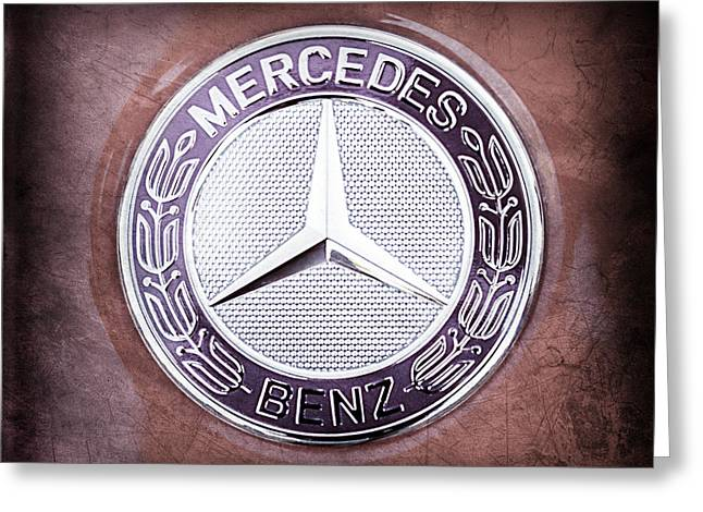 Mercedes Gullwing Greeting Cards - Mercedes-Benz 6.3 AMG Gullwing Emblem Greeting Card by Jill Reger