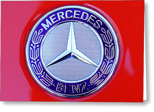 Gullwing Greeting Cards - Mercedes-Benz 6.3 Gullwing Emblem Greeting Card by Jill Reger