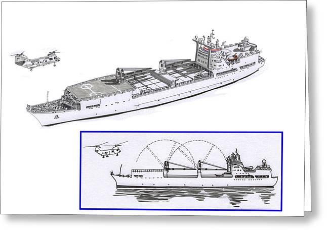 Merchant Ship Greeting Cards - Merchant Marine conceptual drawing Greeting Card by Jack Pumphrey