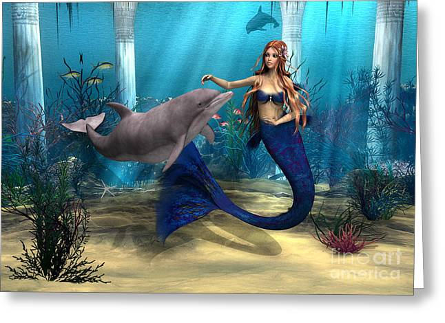 Mermaid And Dolphin Greeting Card by Design Windmill