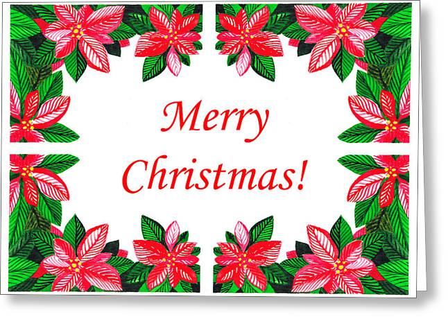 Christmas Art Greeting Cards - Merry Christmas Greeting Card by Irina Sztukowski