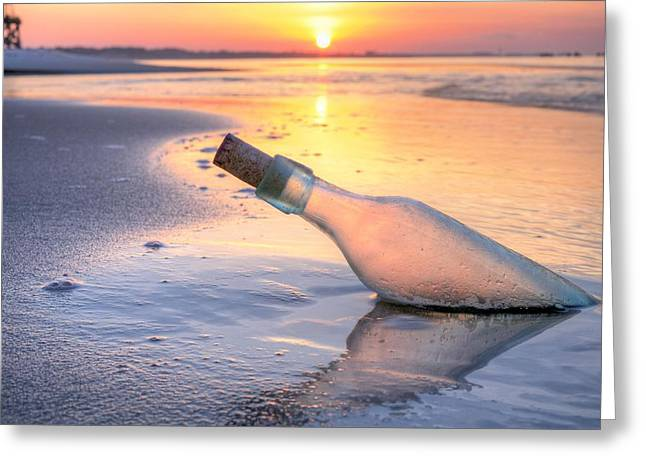 Emerald Coast Greeting Cards - Message in a Bottle Greeting Card by JC Findley