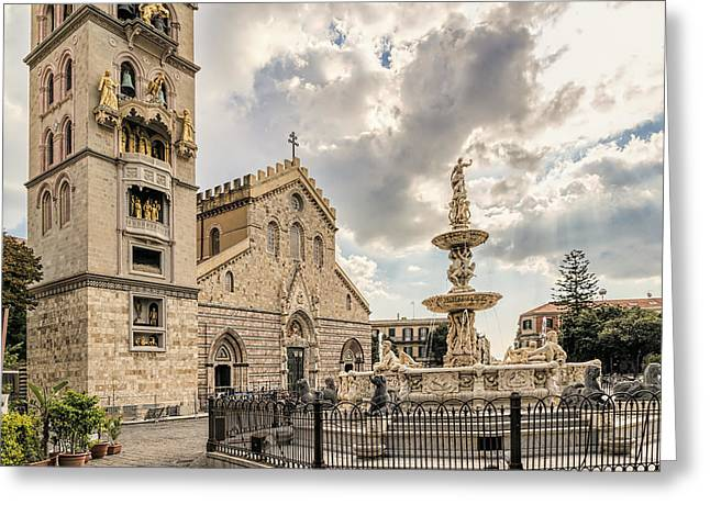 Michelangelo Greeting Cards - Messina Cathedral Greeting Card by Maria Coulson