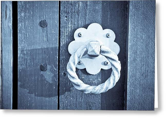 Medieval Entrance Greeting Cards - Metal knocker Greeting Card by Tom Gowanlock