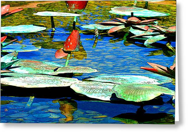 Water Lilly Greeting Cards - Metal Pond Greeting Card by Jack Melton